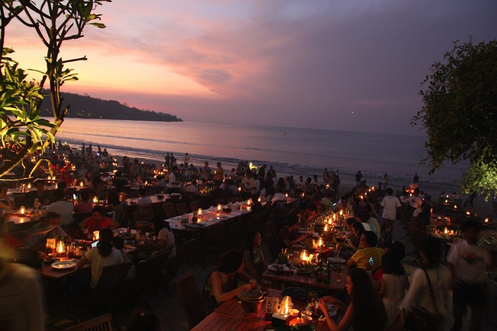Jimbaran Bay restaurants: Sunset at Menega Cafe, Jimbaran Bay, Bali