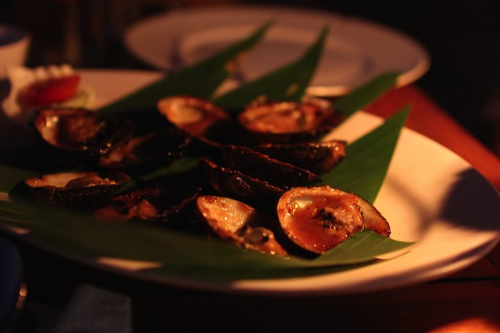 Jimbaran Bay restaurants: clams at Menega Cafe, Jimbaran Bay, Bali