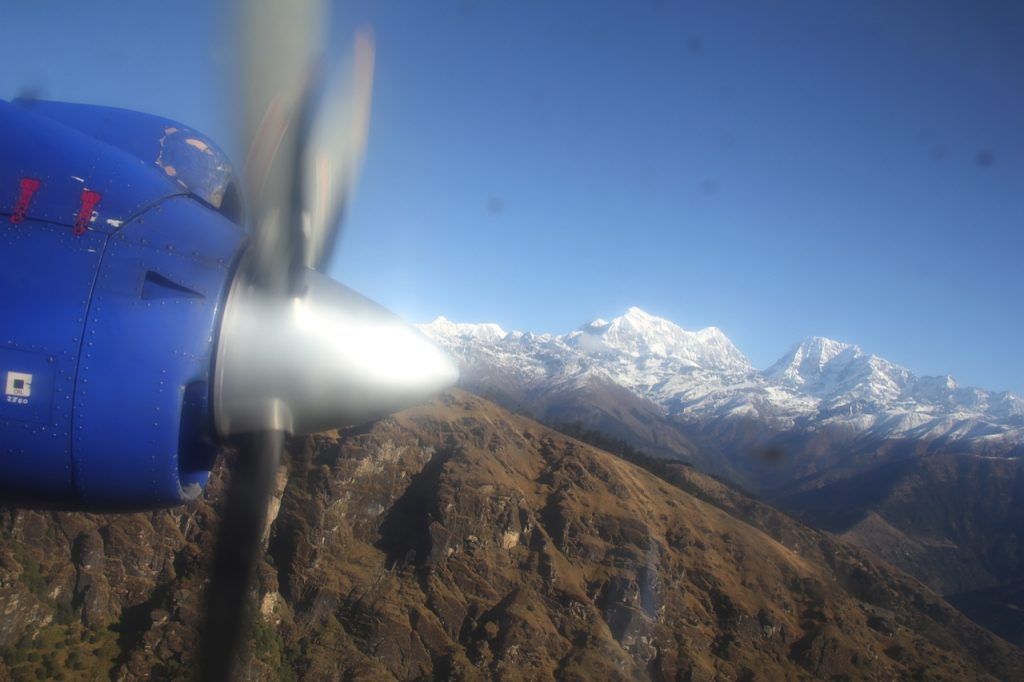 Everest Base Camp trek Nepal mountains from the plane