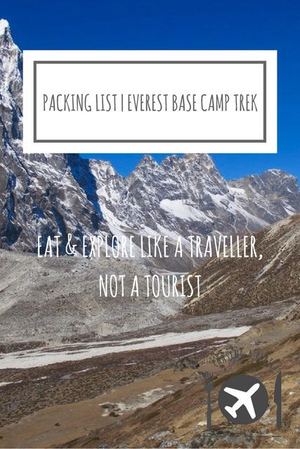 Packing lIst Everest Base Camp