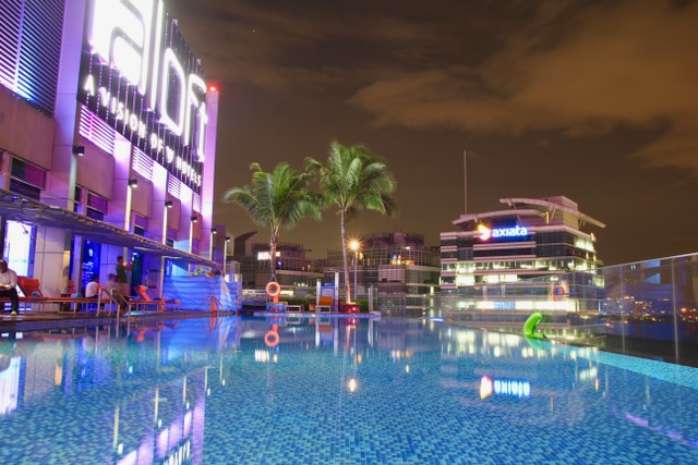 Accommodation in Kuala Lumpur: the pool at Aloft Sentral