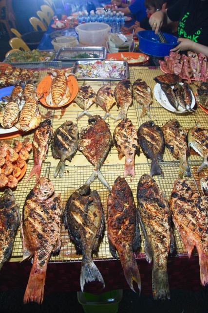 Seafood at the Sinsuran Night Market, Kota Kinabalu