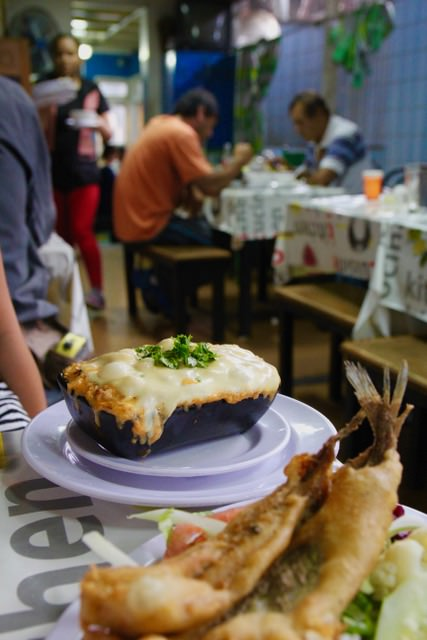 Where to eat in Santiago: Pastel de jaiba (crab pie) at a restaurant in La Vega Chica