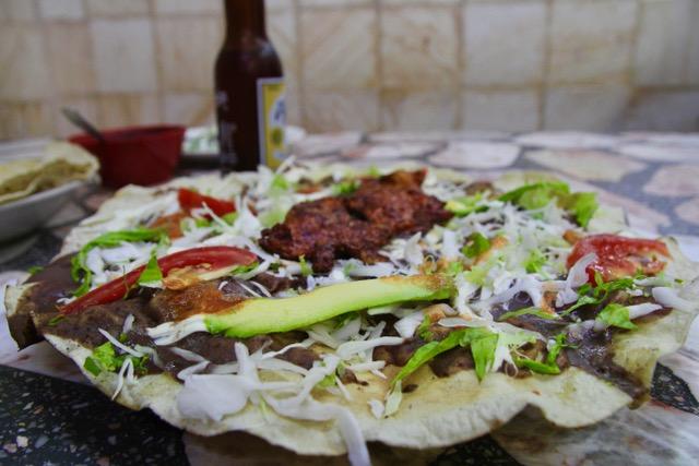 Oaxacan food: tlayudas
