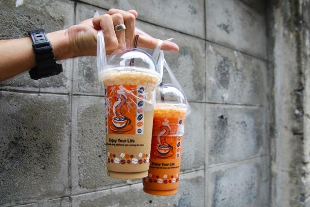 Thai street food: iced Thai tea and coffee