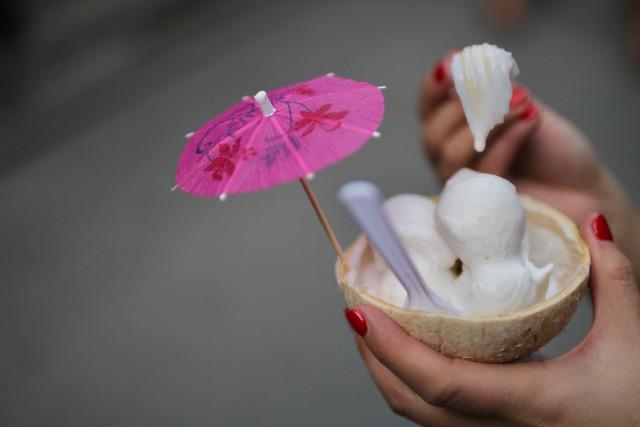 Thai street food: coconut ice cream