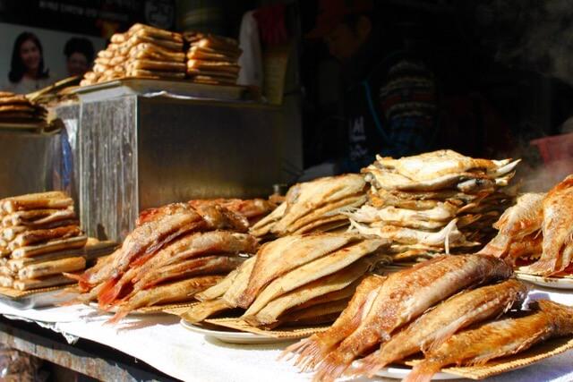 Fresh fried fish at Jalgachi Fish Market, Busan, South Korea