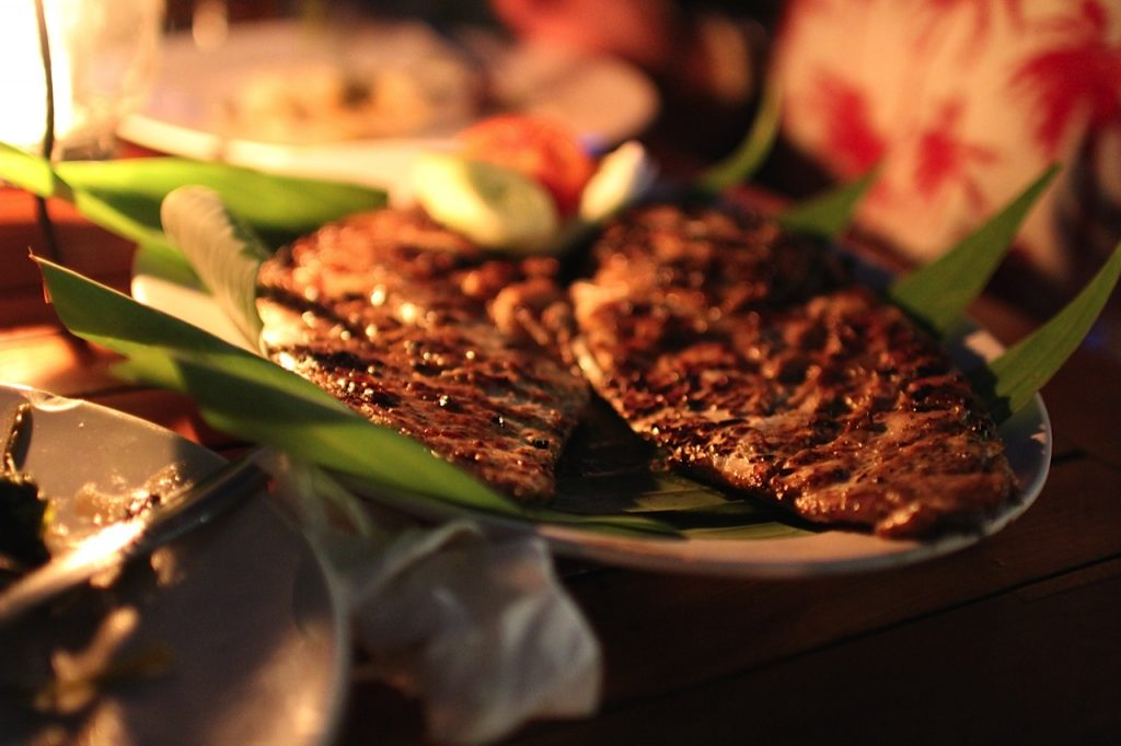 Jimbaran Bay restaurants: grilled fish at Menega Cafe, Jimbaran Bay, Bali