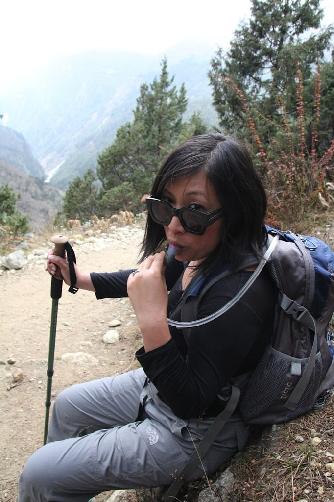 Everest Base Camp trek Nepal Sheena using hydration pack