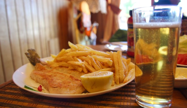 Grilled seabass and chips at Raices de Chiloe, Puerto Natales