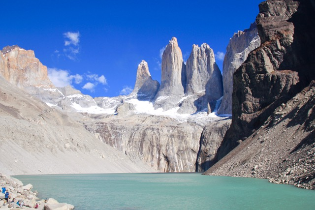 Torres del Paine day hikes: the base of Torres del Paine!