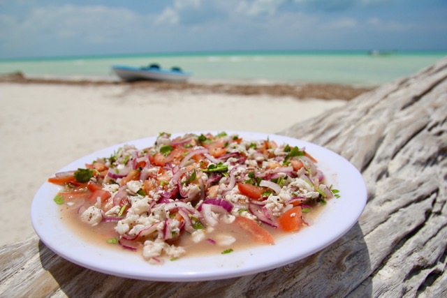 Where to eat on Isla Holbox: Fresh ceviche de pescado at Raices Beach Club