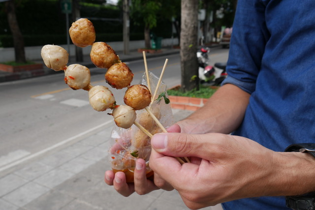 Thai street food: skewers