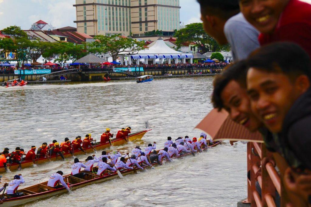Excited supporters at the Sarawak Regatta 2017, Kuching, Sarawak