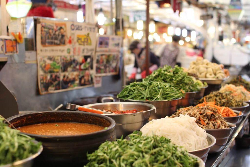 Bibimbap stall at Gwangjang Market, Seoul, South Korea