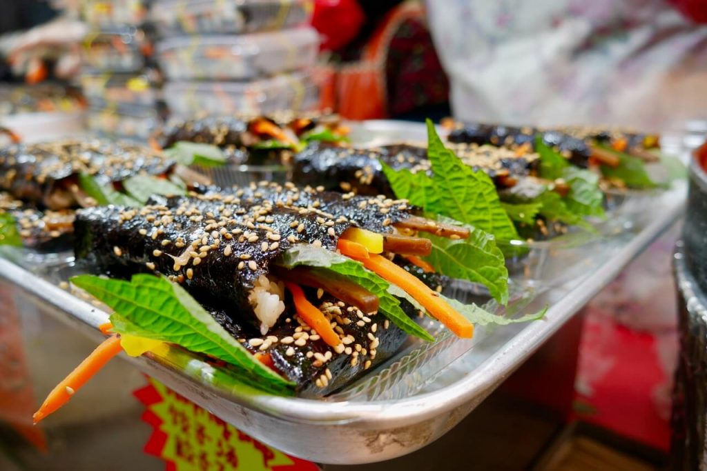Gimbap at Gwangjang Market, Seoul, South Korea